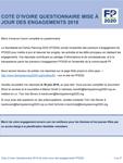 Côte d'Ivoire Questionnaire mise à jour des engagements 2018