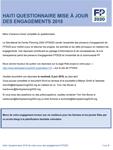 Haïti Questionnaire mise à jour des engagements 2018