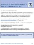 Madagascar Questionnaire mise à jour des engagements 2018