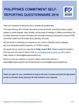 Philippines Commitment Self-Reporting Questionnaire 2018