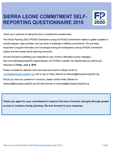 Sierra Leone Commitment Self-Reporting Questionnaire 2018